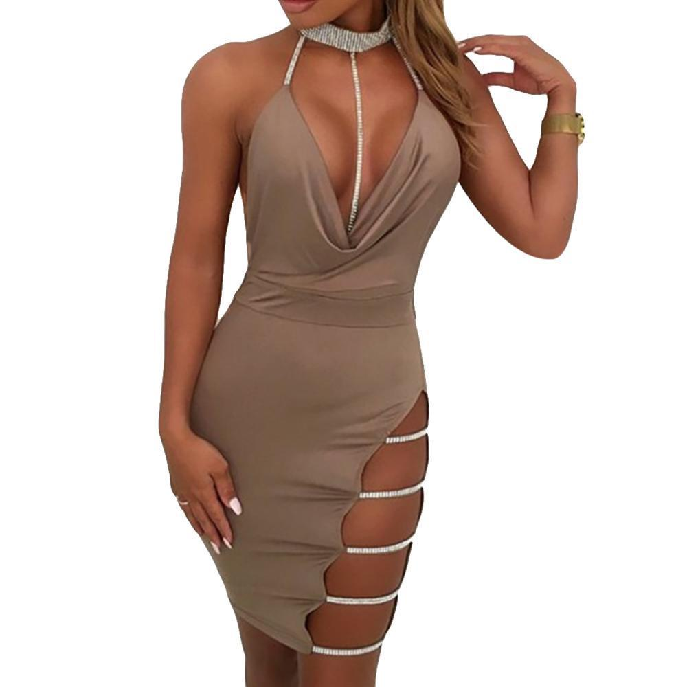 32851b181378 2019 Sexy Mini Dress Women Diamond Halter Deep V Neck Fashion Hollow Out  Dresses Sleeveless Ladies Backless Dress Short 2018 Clubwear From Baldwing