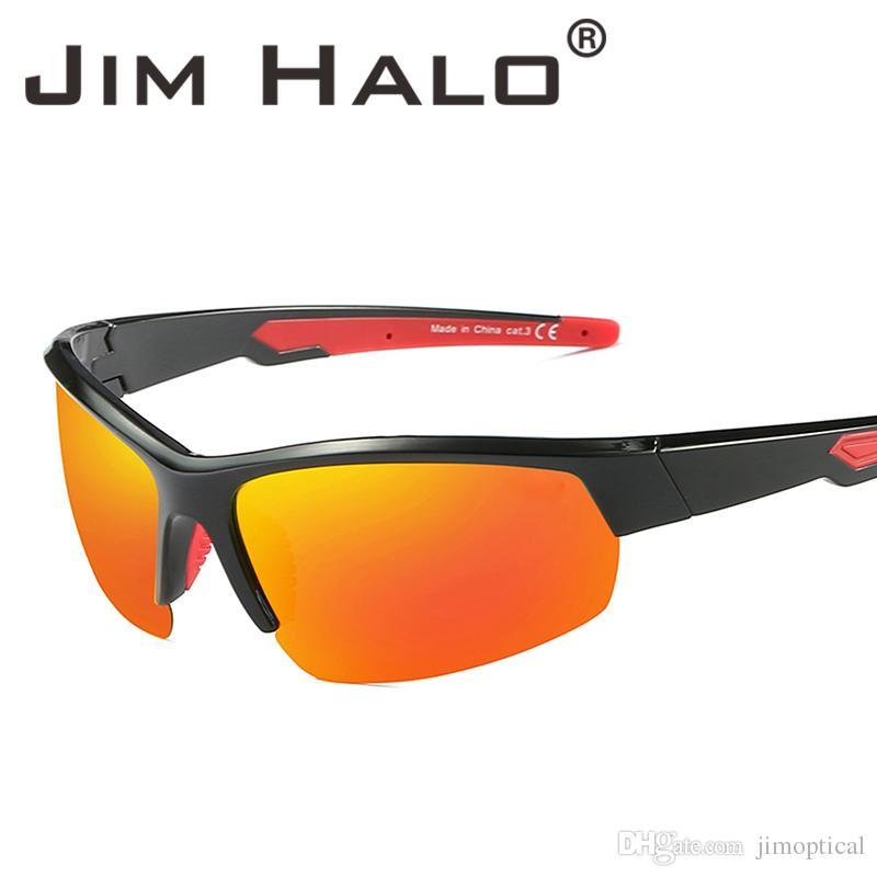 956a54ed608 Jim Halo Polarized Cycling Outdoor Sport Sunglasses Semi Rimless TR Temple Sports  Glasses Baseball Fishing Running Golf Driving Vintage Sunglasses Super ...