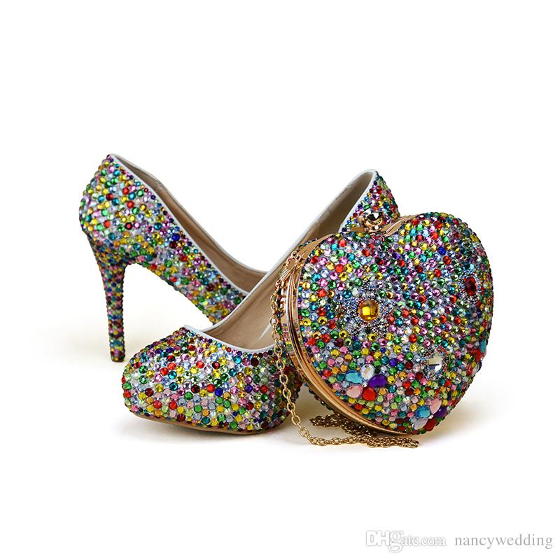 Small Rhinestone Mix Color High Heel Party Shoes With Heart Shape Bag Wedding Bridal Adult Ceremony Clutch Cheap Uk