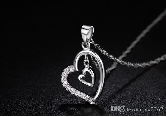 S925 sterling silver necklace women crystal love heart necklace pendant