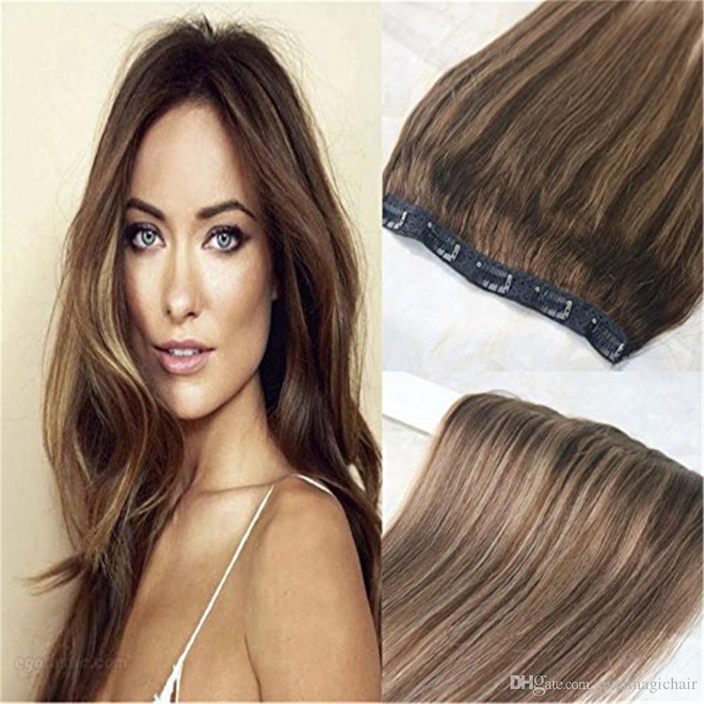 One Piece Real Hair Extensions Clip In Human Hair Balayage Highlight