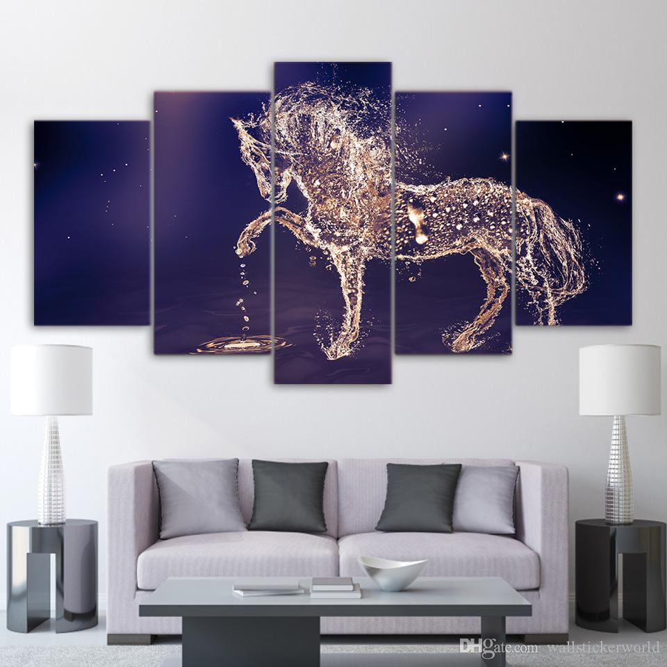 Canvas Art HD Print Home Decor water horse drops Paintings For Living Room Wall Poster Picture UP-2315C