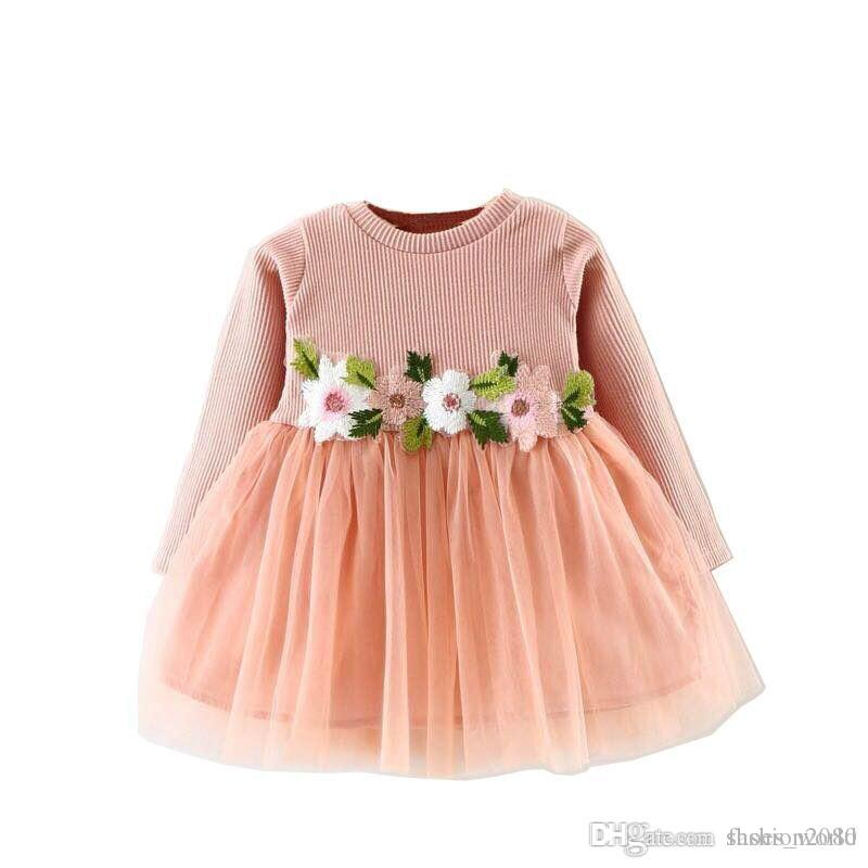 6d79b1cade33 2018 Cute Girl'S Dress For Newborn Floral Tulle Dress Vestido Children'S  Party Dress For Wedding First Birthday Outfit Girl Clothi Canada 2019 From  ...