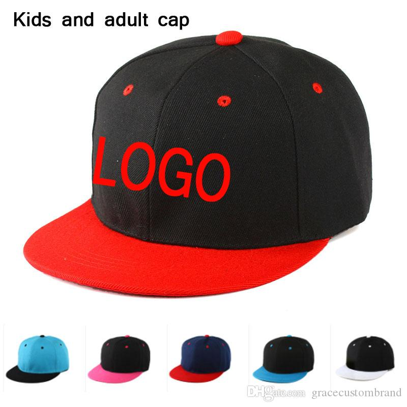 319cc122570ac Adult Kids Baseball Cap Stitch LOGO Flat Brim Snapback Boy Hip Hop Caps  Patchwork Adult Children Baseball Cap Men Custom Embroidery LOGO Custom  Baseball ...