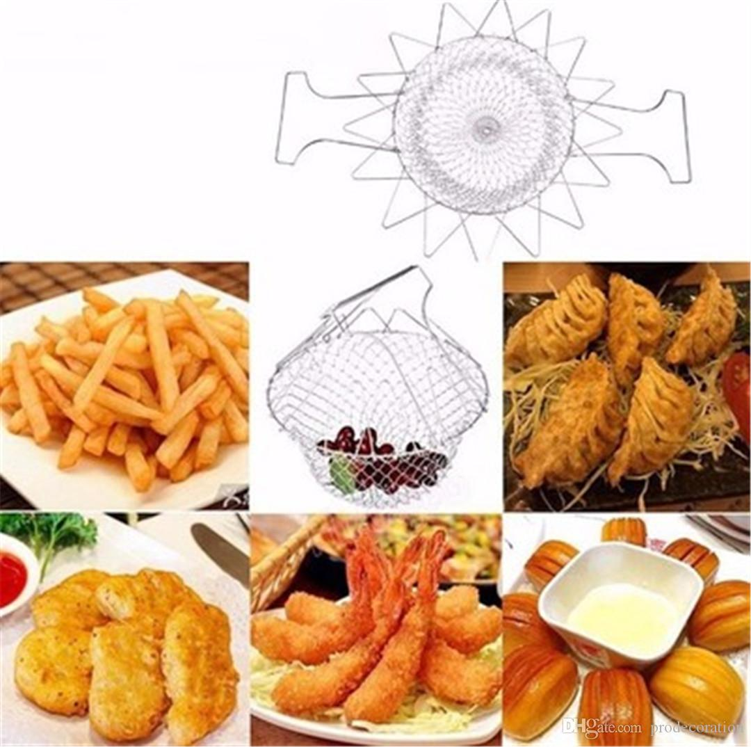 New Creative Chef Basket Folding Steam Rinse Strain Fry French Magic Basket Mesh Basket Strainer Net Kitchen Cooking Tool Top Quality