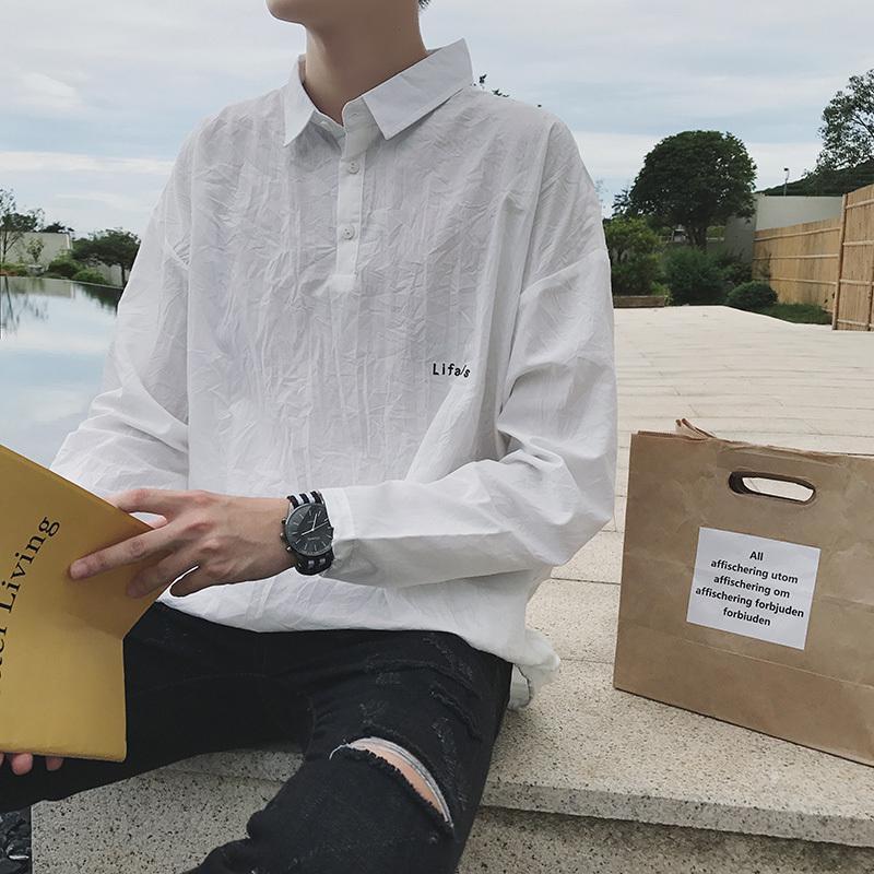6b4a513f7 Compre 2018 Mais Recente Moda Masculina Clothing Carta Bordado Bolso Japão  Estilo Juventude Pop Casual Camisa De Algodão Solto Camisa Branca M 2xl De  ...