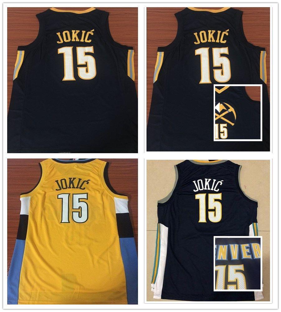 2018 Stitched 2019 New Style 15 Nikola Jokic Jersey Men The City Navy Blue  Yellow Basketball Nikola Jokic Jerseys Breathable Sport Shirt From  Mengyichen ba1d671e3