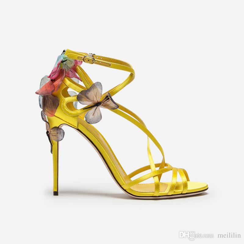Handgemachte gehobene Schmetterlingsblumen-Stilettfrauenschuhe Sommerkreuzschnallenband-gelbes Satin reizvolle Absatzschuhe Damenschuhe