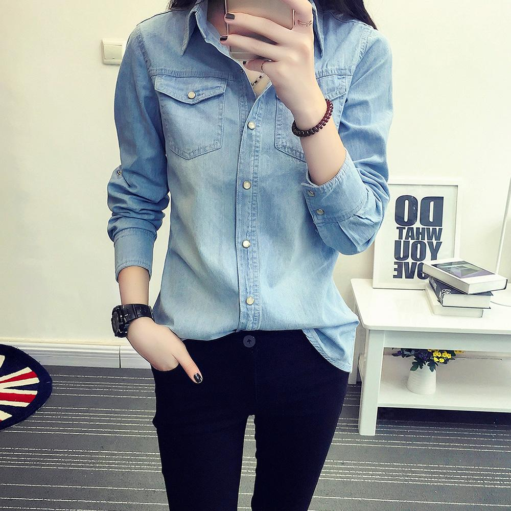 313b5f97e8 2019 100% Cotton 2018 Spring Cotton Loose Women Denim Shirts Long Sleeved  Jeans Blouse Female All Match Coat Outwears Tops From Beimu