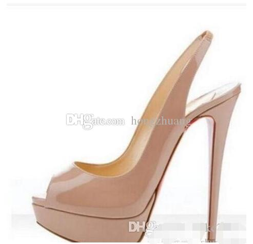 1072596d9ab Luxury Brand Nude Color Fish Mouth 14cm lRed Bottom High Heels ,Women Black  Patent Leather Platform Peep-toes Sandals Women Pumps