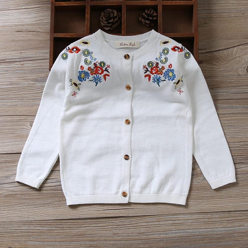 White Children Girls Cardigan Sweater Embroidery 100 Cotton Girls