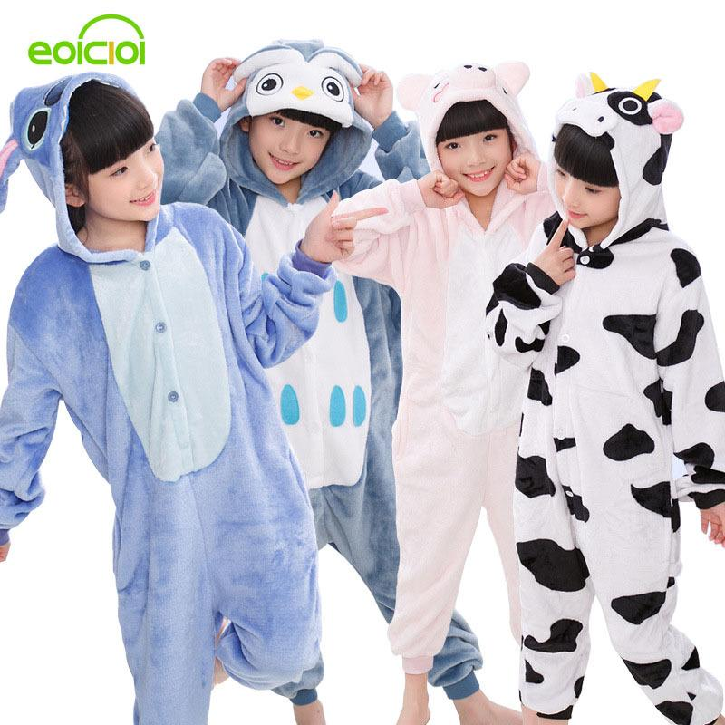 0c3bd5d4d4bc EOICIOI New Flannel Kids Pajamas Animal Unicorn Stitch Pikachu ...