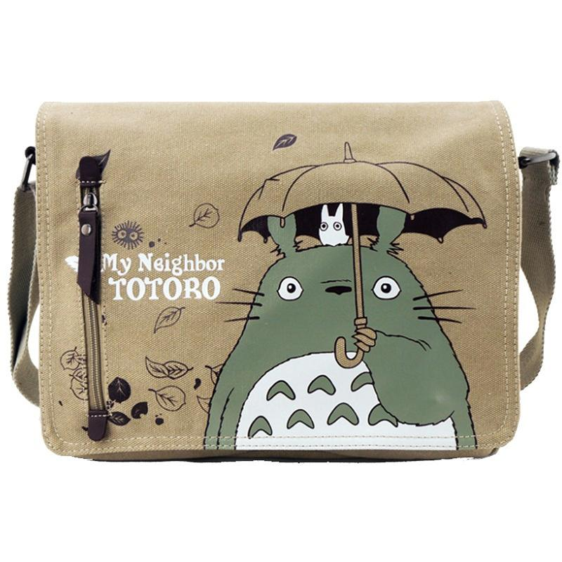 Totoro Crossbody Bag Uomini Messenger Borse Canvas Shoulder Bag Cartoon Anime Neighbor Scuola maschile Lettera Tote Handbag