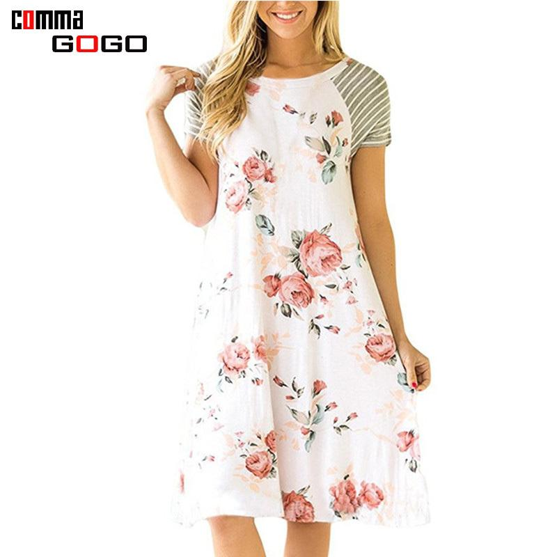 35db5756649 Patchwork Floral Print Dress Women Casual Short Sleeve Midi Dress White  Female O Neck A Line Cute Dresses For Woman 2018 Summer Graduation Maxi  Dresses ...