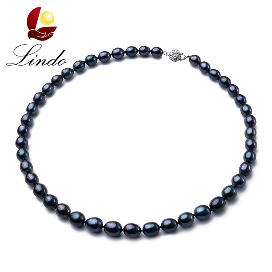 Vintage High Quality Black 100% Natural Freshwater Pearl Women Necklace 2017 Fashion 925 Sterling Silver Jewelry Gift For Mother