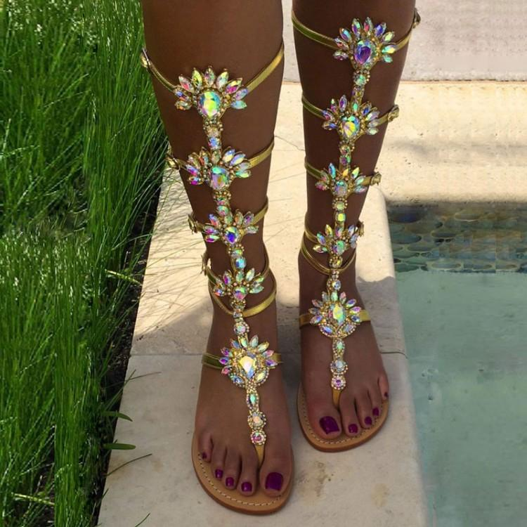 8347ec81e Plus Size 13 Bling Bling Crystal Women Flat Sandals Cut Out T Bar Strap  Gladiator Sandals Boots Sexy Clip Toe Beach Sandals Heels Gladiator Sandals  From ...