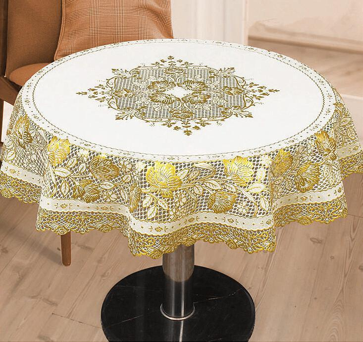 DHgate.com & Wholesale-European hollowed-out gilding PVC round table cloth gold white tablecloth waterproof oilproof HEATPROOF circle table cover 90cm