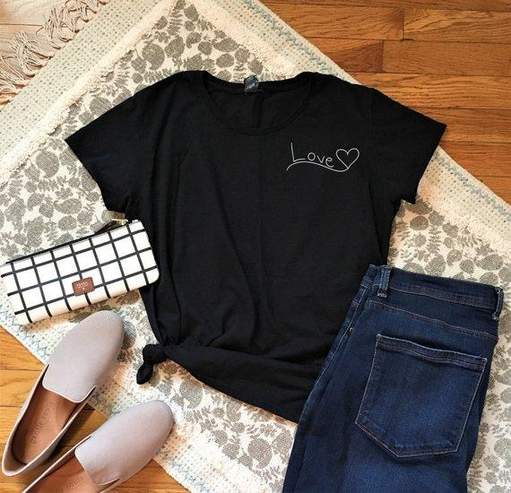 7d892a9408 Women S Tee Lover Heart Pocket Tumblr T Shirt Lover Graphic Valentine S  Shirt Casual Boyfriend Heart Gift Tops Slogan Trendy 90s Outfits Funny  Screen Tees ...