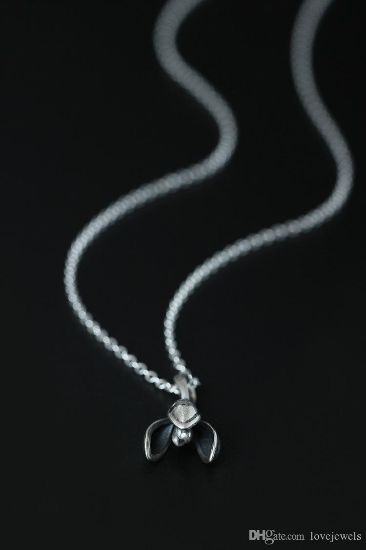 charm Fashion charm 925 silver jewelry Pearl Pendant Necklace Crystal statement necklace retro plum female silver chain clavicle Jewelry