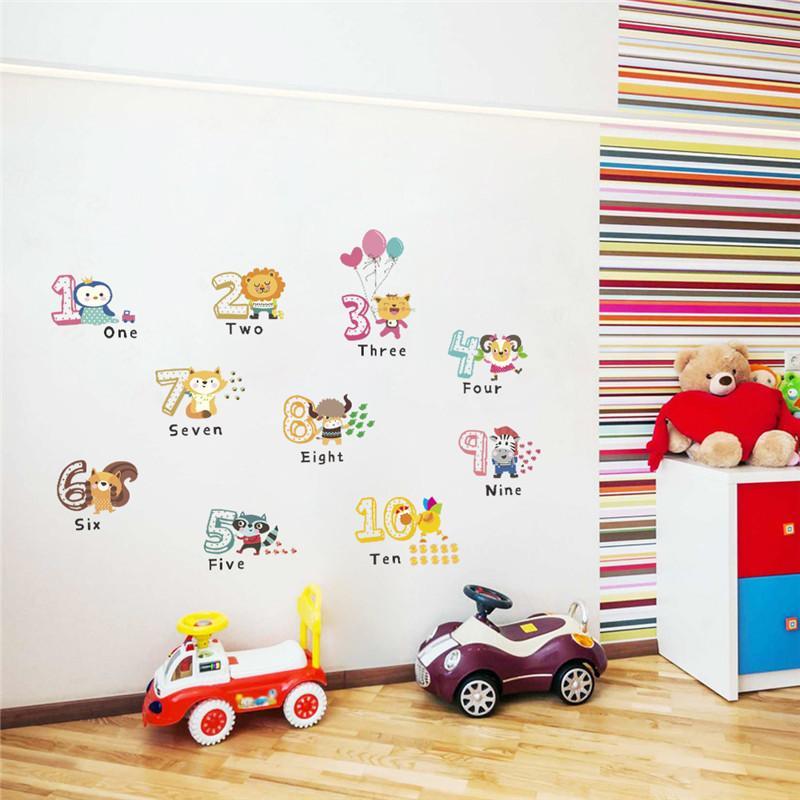 Aufkleber für Kinderzimmer Tier Englisch Anzahl Wandaufkleber für  Kinderzimmer Dekoration Wandtattoos Alphabet Kinder Geburtstagsgeschenk