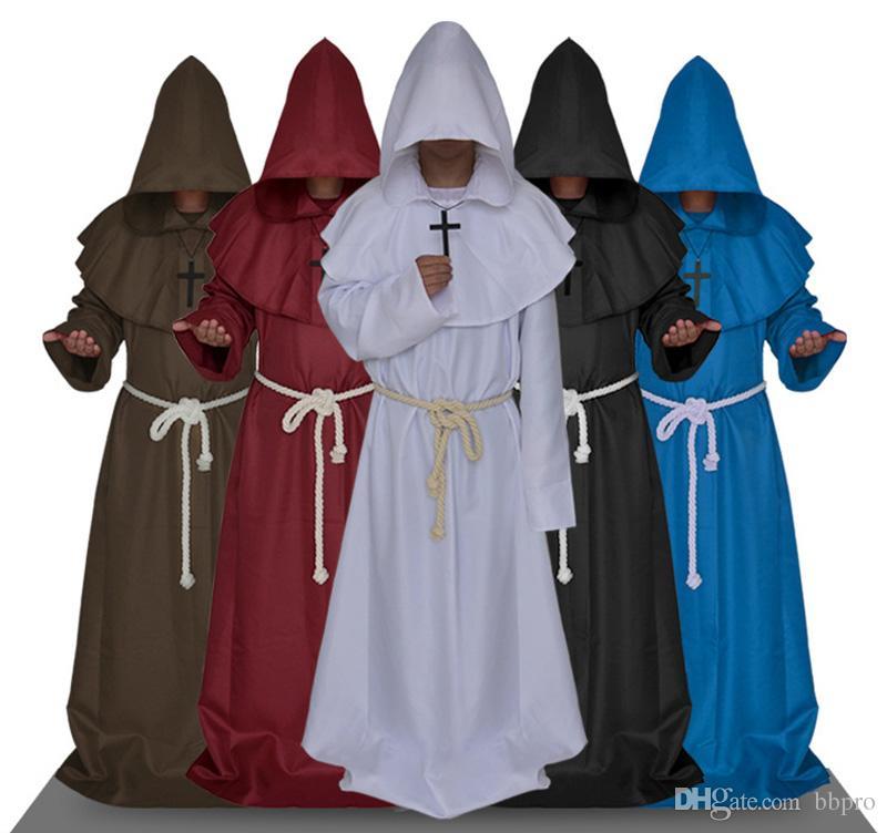 f705164d9dfe Acquista Costume Di Halloween Medievale Monaco Sacerdote Friar Cosplay Con  Cappuccio Robes Mantello Cappuccio: Bianco / Blu / Nero / Caffè / Colore  Rosso A ...