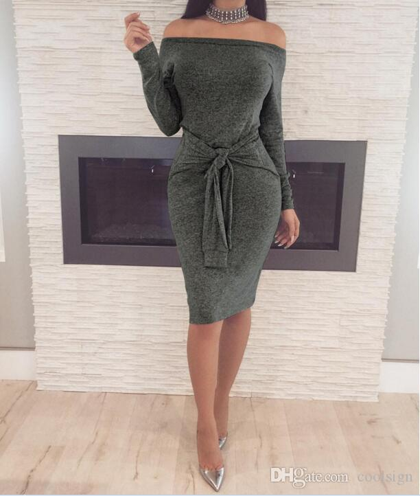 19c0d12105421 2019 2018 New Knitting Long Dress Women One Shoulder Maxi Dress Sexy Hollow  Out High Split Club Party Dresses Sweater Vestido From Coolsign, $19.3 |  DHgate.