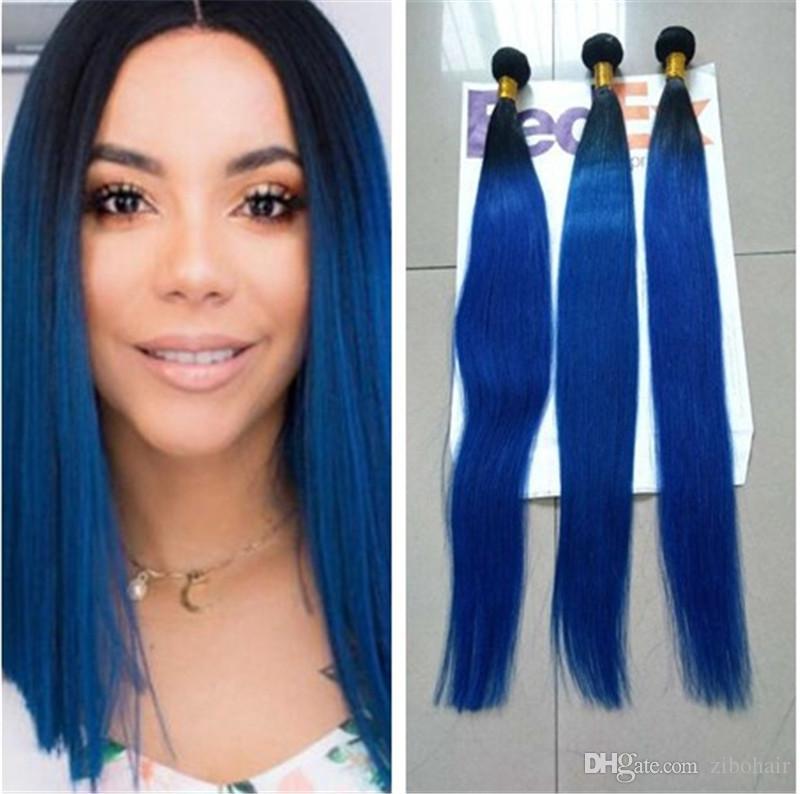 Blue Ombre Human Hair Malaysian Ombre Human Hair 1bblue Dark Roots