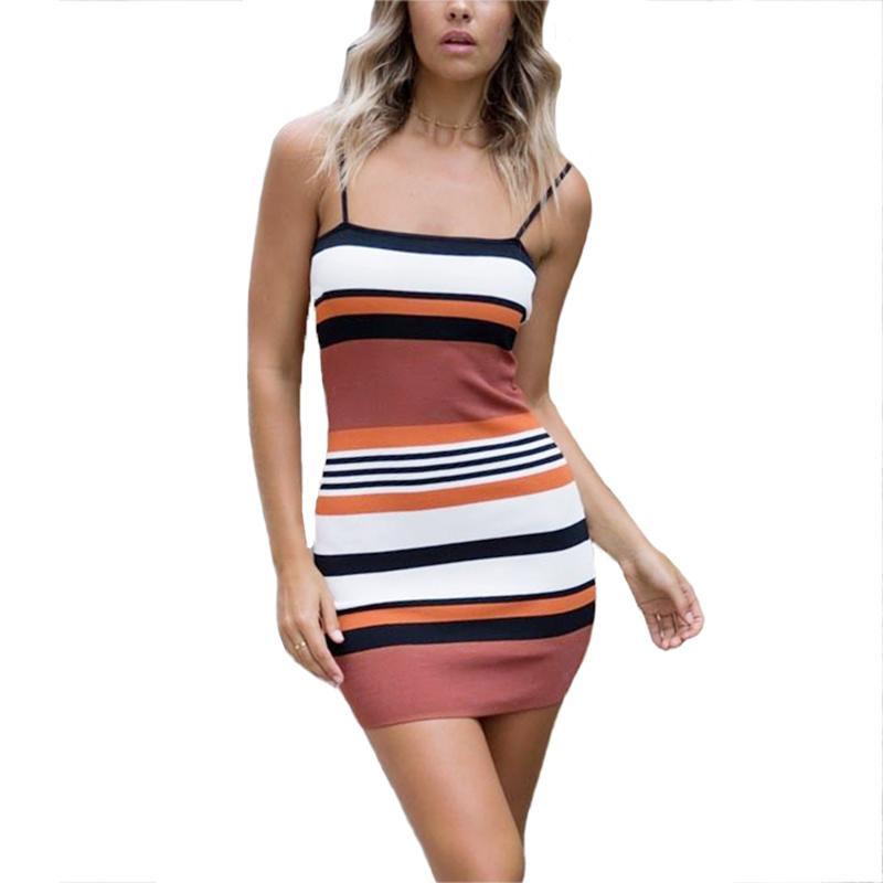 a55de126c2e2 Gestreifte Cami Minikleid Sommer Neue Spaghetti Strap Mädchen,  Figurbetontes Kleid Mehrfarben Sexy Frauen Kleid