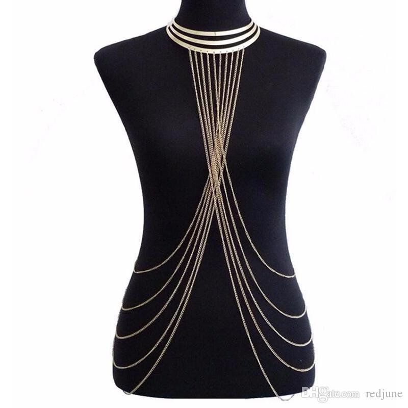 aee4e727957 Sexy Lady's Layered Crossover Body Chain Gold Color Multilayer Tassel Necklace  Bikini Waist Belly Chain Boho Beach Body Jewelry