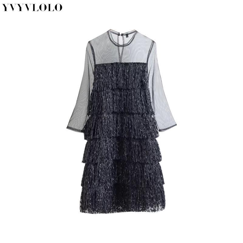 5e7f5c3d730e8 Satın Al YVYVLOLO Kadınlar Püskül Net Iplik Perspektif Elbise 2018 Seksi  Mini Kısa Elbise Rahat Plaj Elbiseleri Marka Giyim, $24.29 | DHgate.Com'da