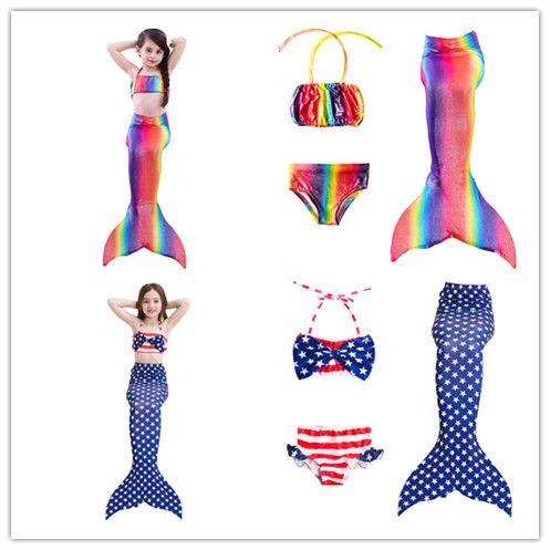 Kids Mermaid Swimsuit Bikini Girls Mermaid Tail With Fin Swimsuit Children Wear Split Swimsuit Mermaid Tail Clothing Swimwear Mother & Kids