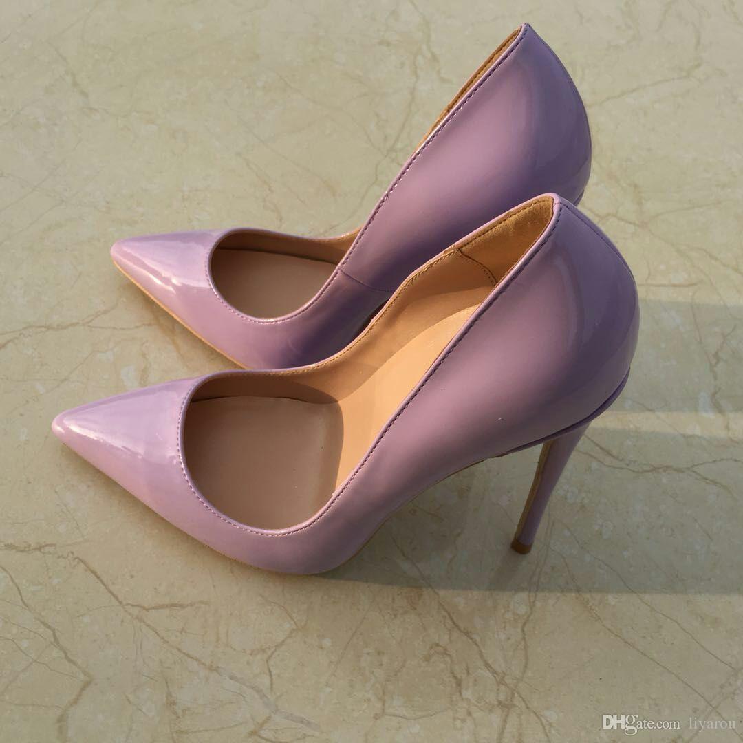 7d0364447f 2018 Women Pumps Purple Shoes Woman 12CM 10cm 8cm High Heels Sexy Wedding  Shoes Fashion Patent Leather Female Bride Shoes For Women Ladies Sandals  Girls ...