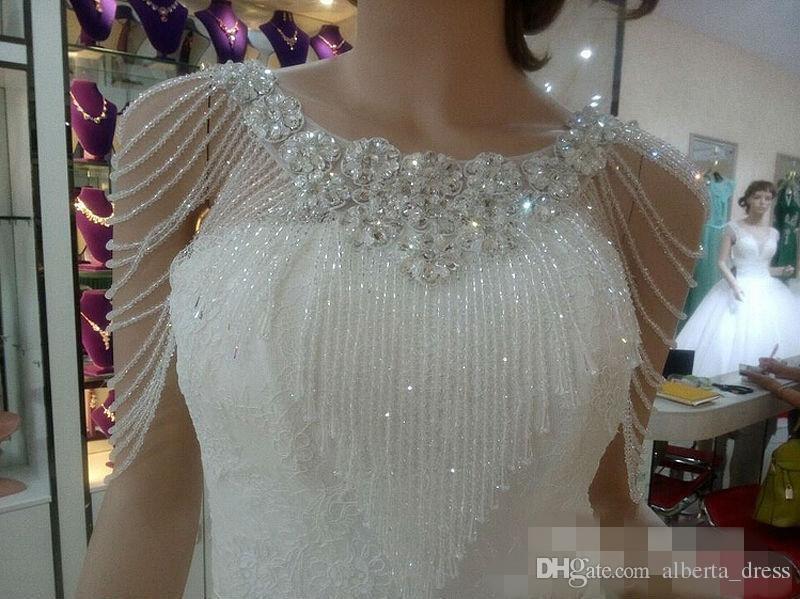 Luxurious Crystal Rhinestone Jewelry Bridal Wraps White Lace Wedding Shawl Jacket Bolero Jacket Wedding Dress With Beaded