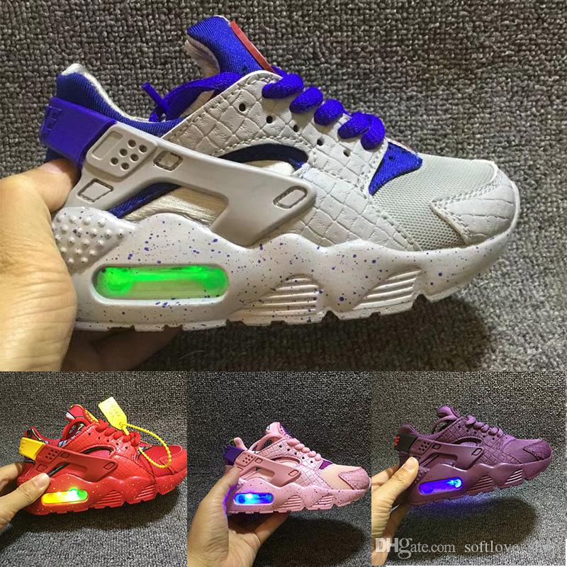8730d87bd976 Flash Lighted Kids Air Huarache Run Shoes Children Running Shoes Infant  Huaraches Outdoor Toddler Athletic Boy   Girls Sneaker Toddler Boy Tennis  Shoes Kids ...