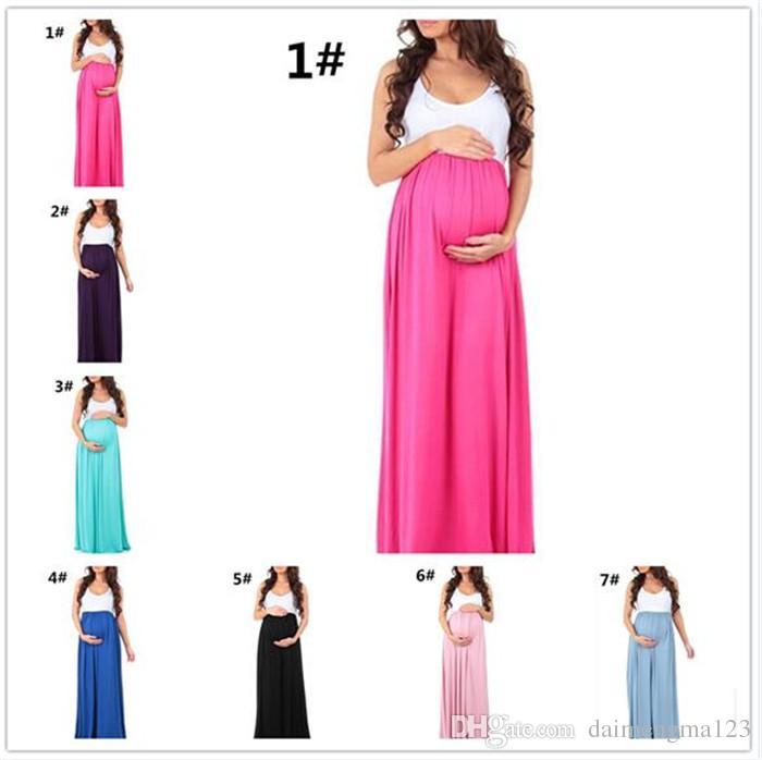 603cc49f3 Compre 26 Unids Embarazada Vestido Maternidad Fotografía Sin Mangas De  Algodón Elástico Vestido De Gasa Mujeres Embarazo Vestido Largo M293 A   11.06 Del ...