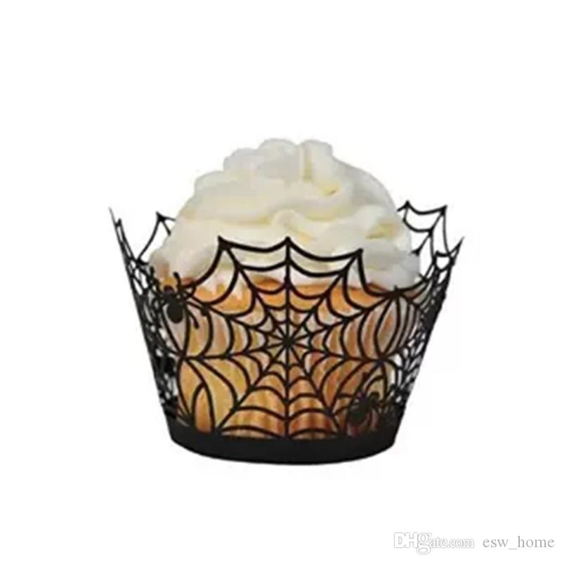 12Pcs//Lot Halloween Spider Cake Topper Cupcake Wrappers Paper Favor Decor Party