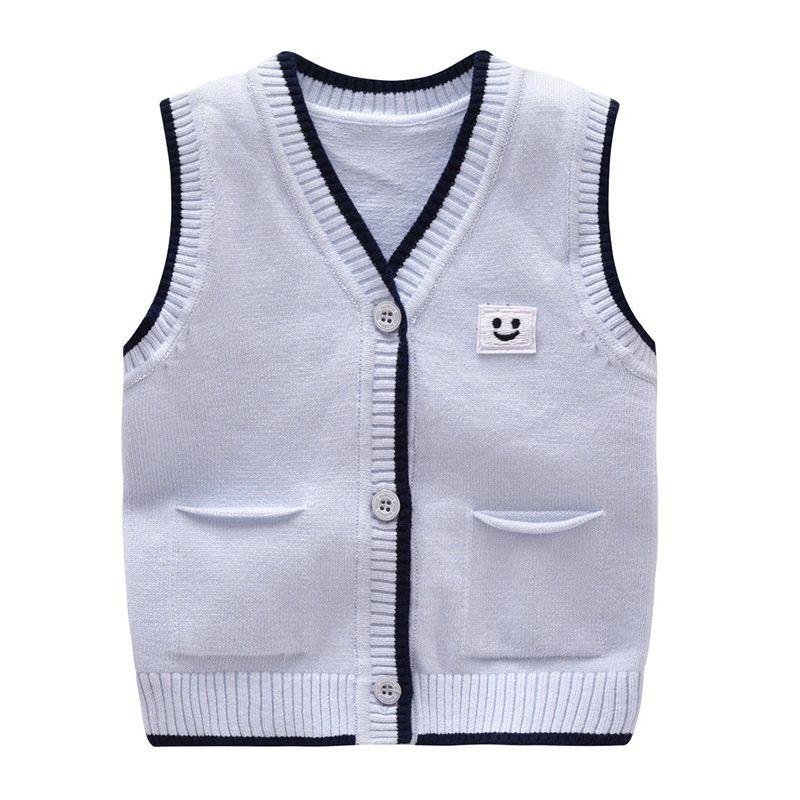 cc825a5e8 Casual Baby Sweater Knit Cotton Boys Vest Sleeveless V Neck Newborn ...