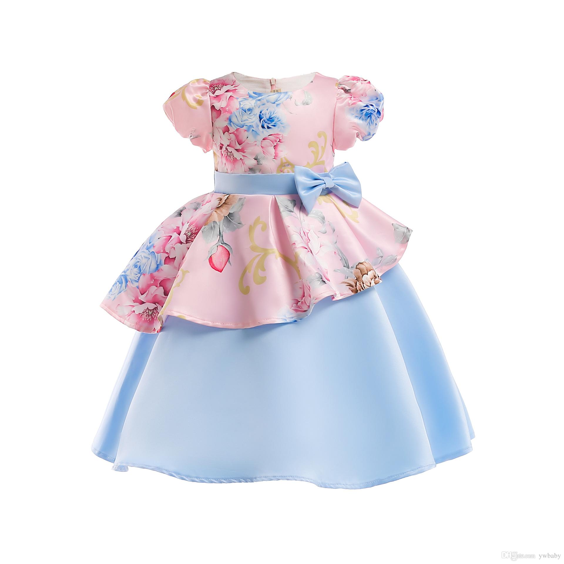f18a0e88d9 2019 Girls Dress Christmas Flower Kids Clothing Princess Bow Wedding Party  Dress Baby Girl Puff Sleeve Dress Baby Clothes From Ywbaby