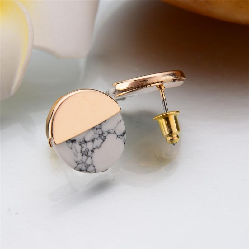 [JIMORE] Vintage Stud Earrings Fashion Ear Jewelry Round Imitation Marble Stone Brincos Gold White Colors Earrings for Women