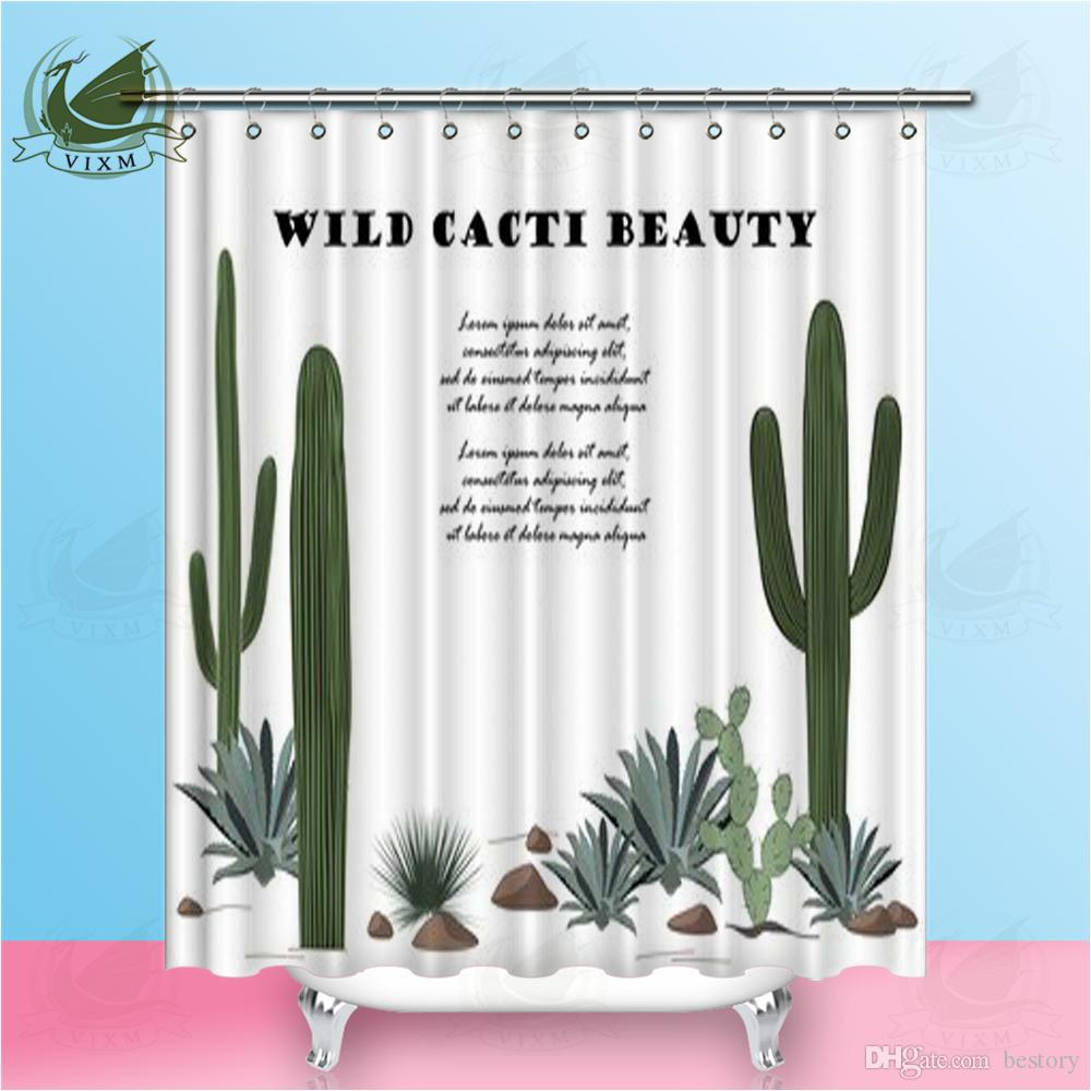 Vixm Background With Cactus And Succulent Desert Plants Shower Curtains  Polyester Fabric Curtains For Home Decor