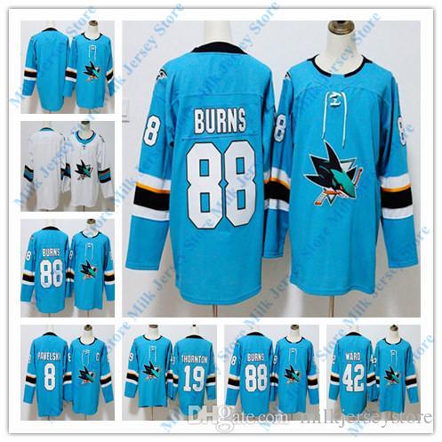 610c33dc521 2019 San Jose Sharks Hockey Jerseys 88 Brent Burns 8 Joe Pavelski 19 Joe  Thornton 42 Joel Ward Jersey Blue White From Milkjerseystore