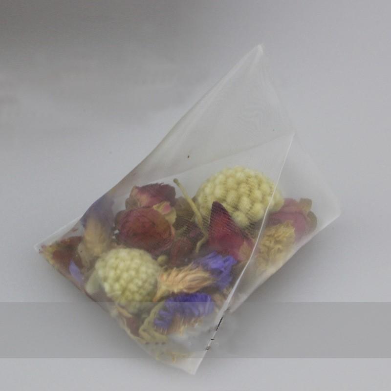 6,5 * 8 cm 5,8x7 cm Leere Dreieck Teebeutel mit Label Heal Seal Nylon Filter Kraut Lose Tee-ei Schmutzfänger 500 teile / los