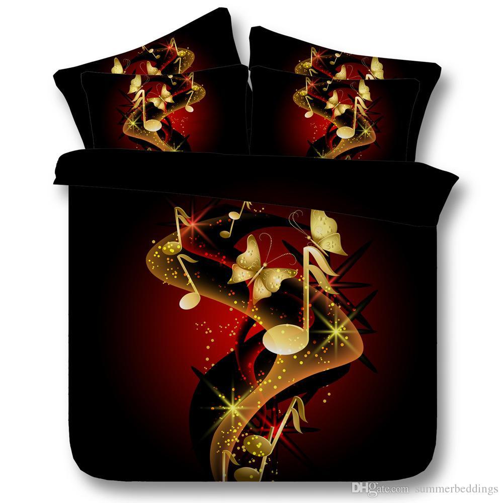 Acheter 3d Dore Papillon Literie Ensemble Musique Housse De Couette