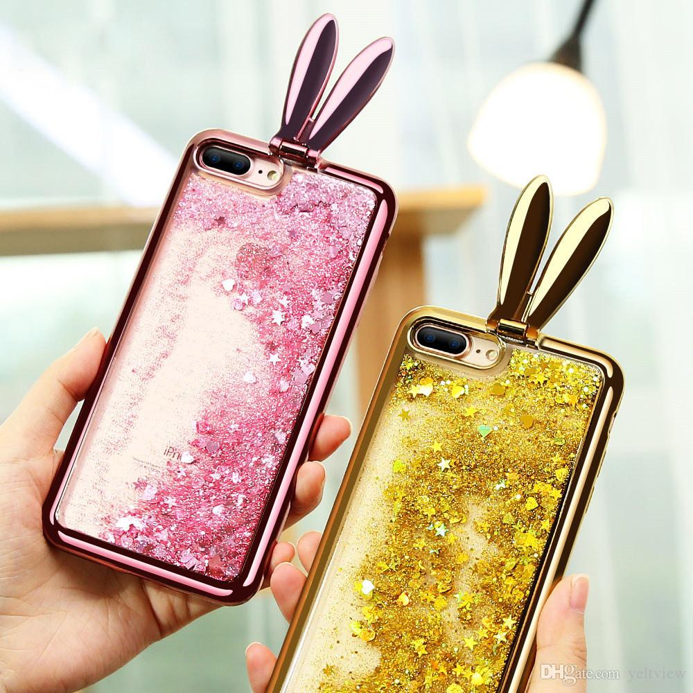 for iPhone X Phone Case Glitter Liquid Quicksand Bunny Rabbit Ears hard Back + soft for iphone 7 8 6s 6 Plus 5s Case