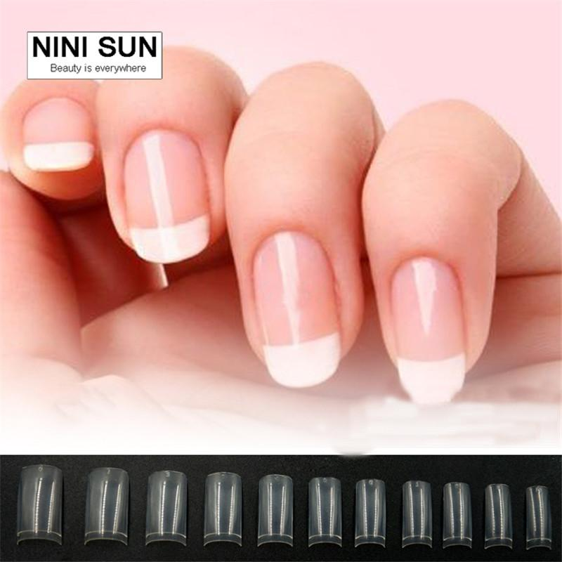 Short French Nail Tips Designs With 11 Sizes Acrylic Nail Art Tips