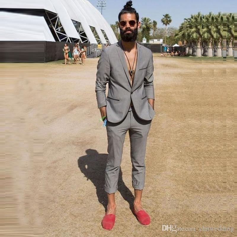 Gray Men Suits Casual Summer Beach Wedding Groom Tuxedos