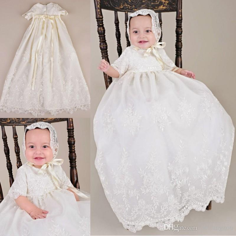 9f2e22afa Cute Two Pieces Christening Dresses For Baby Girls Half Sleeve Lace  Appliques Long Baptism Dress First Communication Gowns With Hats Club Dresses  Dress ...