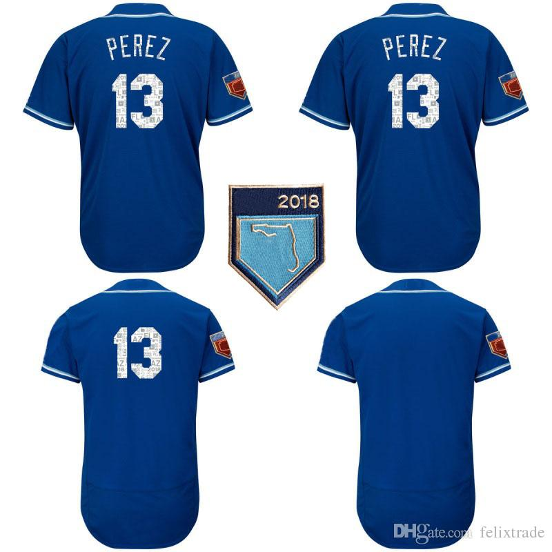 quality design acbca a6cba Men s #13 Salvador Perez 2018 Spring Training Baseball Jersey Blue Cool  Base Felx Base Team Jerseys All Stitched