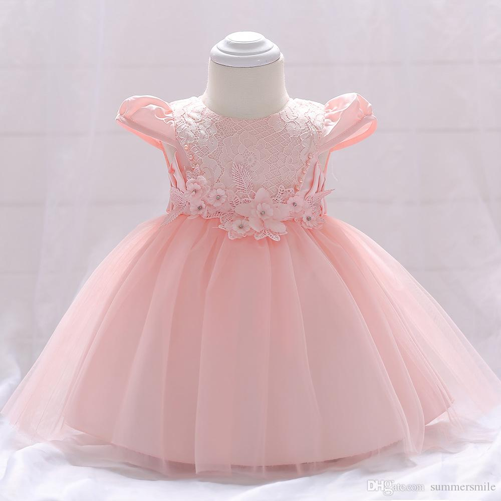6e9925749ca04 Baby age dress small flower princess dress baby bright beads flying sleeves  pink wedding dress skirt