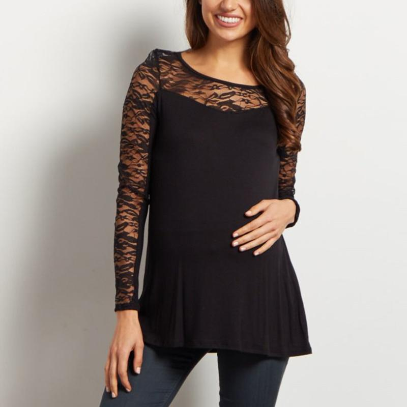 7c0aa13637aa4 2019 Top Sale 2018 Maternity Women Lace Patchwork Shirts Long Sleeve O Neck  Soft Pregnancy Blouse Black White Plus Big Size S 5XL From Namenew